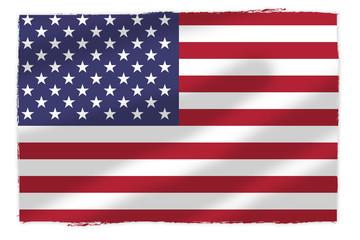 Flaga USA naniesion na pomarszczonej tkaninie - fototapety na wymiar