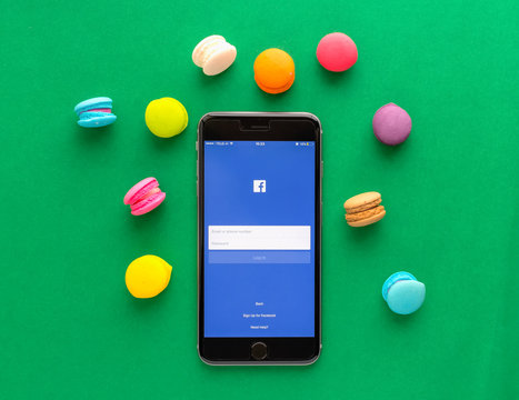 Bangkok, Thailand - October 08, 2019 : Login Screen Facebook icons on Apple iPhone. Facebook is largest and most popular social networking site in the world.