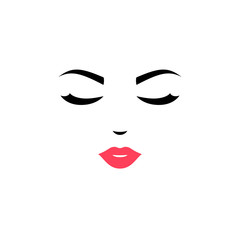 Woman face logo design. Vector illustration. Girl silhouette for cosmetics, beauty, health and spa, fashion themes. Creative female icon with close eyes and pink lips.