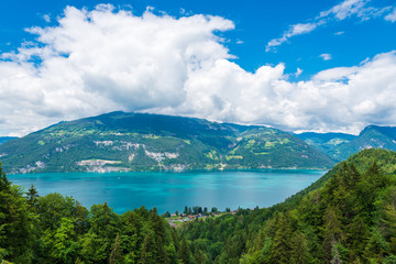 View from the suspension bridge in Leissingen on the Lake Thun