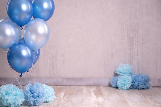 Digitaler Backdrop Geburtstag Kind Luftballons blau feiern - Var. 2