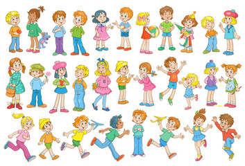 Collection of funny kids. Multicultural children with different colors of skin and hair in different poses and relationships. In cartoon style. Isolated on a white background.