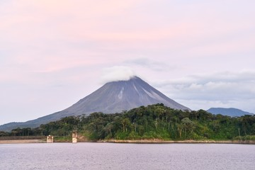 volcano in fuerteventura spain, photo as a background ,taken in Arenal Volcano lake park in Costa rica central america , digital image picture