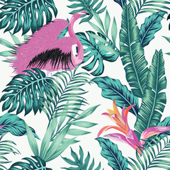 Exotic bird pink flamingo leaves seamless white background
