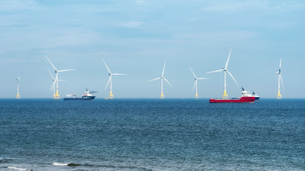 Offshore wind turbine farm on Scotland coast of Aberdeen
