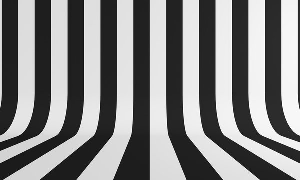 Abstract background with black and white line. 3d rendering
