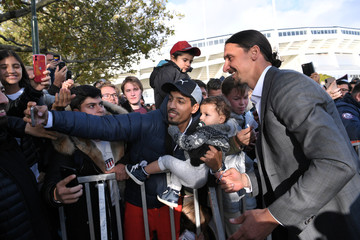 Swedish soccer star Zlatan Ibrahimovic meets fans during the unveiling ceremony of a 2,7m bronze statue of Ibrahimovic near Malmo Stadium
