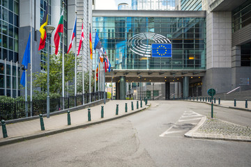 European Parliament offices and European flags in Brussels, Belgium