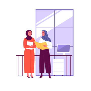 Muslim business women. Vector illustration of two Muslim women talking in the office. Isolated on background.
