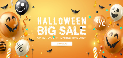 Halloween sale promotion poster with scary air balloons and streamers on orange background