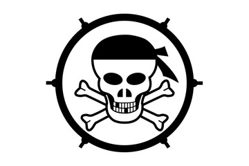 Illustration of a logotype Jolly Roger on a white background in a circle