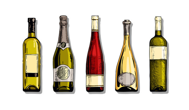 Set of wine bottle