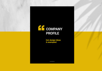 Black Brochure Layout with Yellow Accents