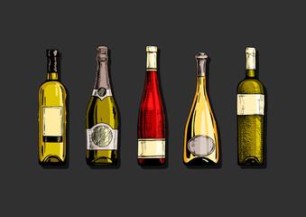 Wall Mural - Set of wine bottle