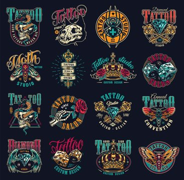 Vintage tattoo studio emblems