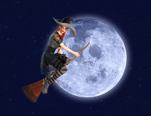 Witch flying on broom over the moon. Elements of this image furnished by NASA. 3D rendering.