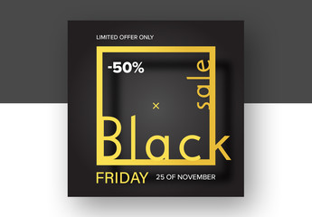 Black Friday Sale Card Layout with Black and Gold Elements