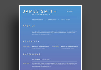Resume Layout with Blue Gradient Background