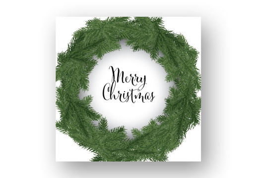 Christmas Card Layout with Illustrative Wreath