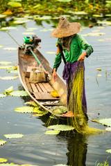 Fischerin auf dem Inle See in Myanmar