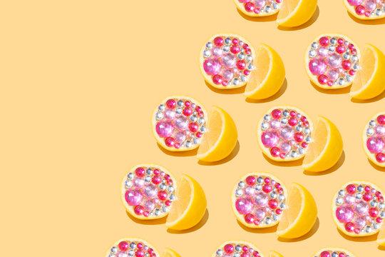 Lemon Citrus Fruit, Gemstone Pattern