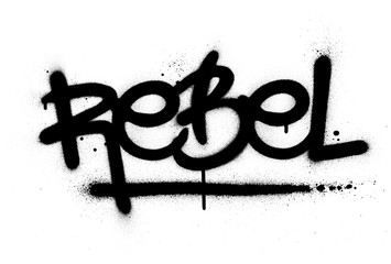 graffiti rebel word sprayed in black over white