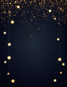 Christmas background design with yellow glowing stars and gold glitter or confetti. Dark backdrop with space for text. Vector flyer or banner template.