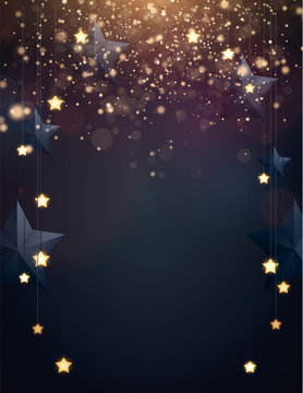 Christmas background design with yellow glowing stars, blue paper stars and gold confetti. Dark backdrop with space for text. Vector flyer or banner template.