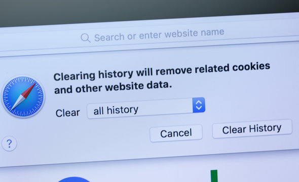 closeup Macbook displayed official browser Safari remove history, cookies and other browsing data. Apple is a multinational technology company. Moscow, Russia - April 11, 2019