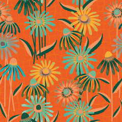 Aqua blue and tangerine color Echinacea flowers in tropical design. Seamless vector pattern on orange grid textured background. Perfect for wellness, beauty, spa products, fabric, stationery, giftwrap