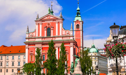 Fototapete - Travel and landmarks of Slovenia - beautiful Ljubljana with baroque architecture