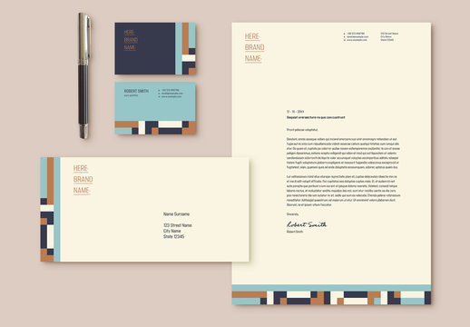 Stationery Set Layout with Blue and Tan Elements