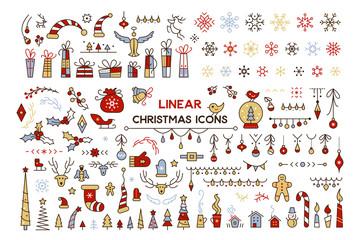 Winter season decor vector color illustrations set