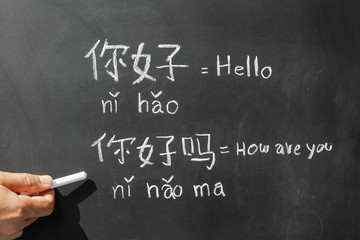 """Learning chinese alphabet """"pinyin"""" in classroom."""