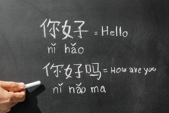"Learning chinese alphabet ""pinyin"" in classroom."