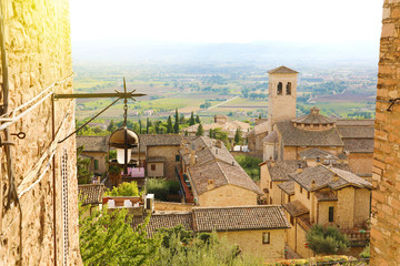 Amazing glimpse view from medieval old Italian city of Assisi, Umbria, Italy.