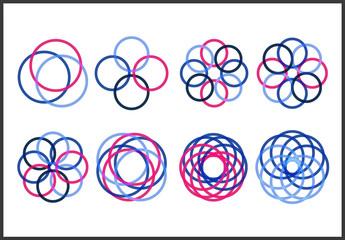 Pink and Blue Geometric Icon Set with Interlocking Circles