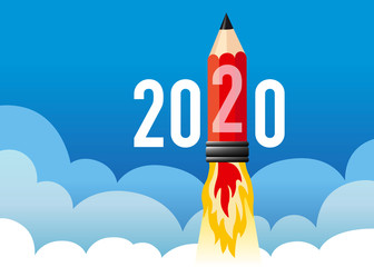 Illustration d'une fusée en forme de crayon qui décolle en symbolisant l'énergie d'une jeune entreprise voulant réussir et atteindre ses objectifs pour l'année 2020