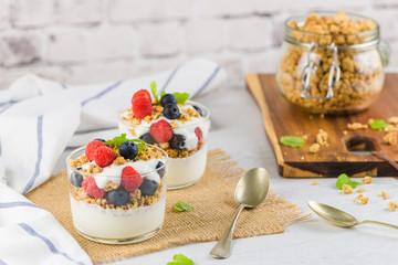 Granona with red fruits homemade yogurt