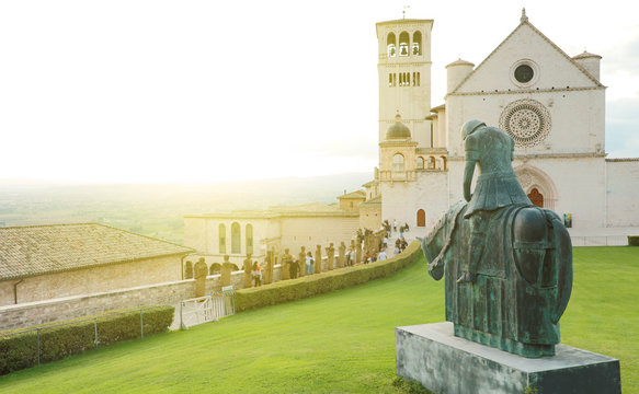 Famous Basilica of St. Francis of Assisi at sunset, Umbria, Italy.