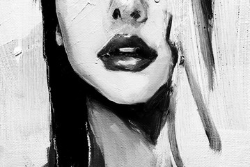 Lips of a woman, black and white version