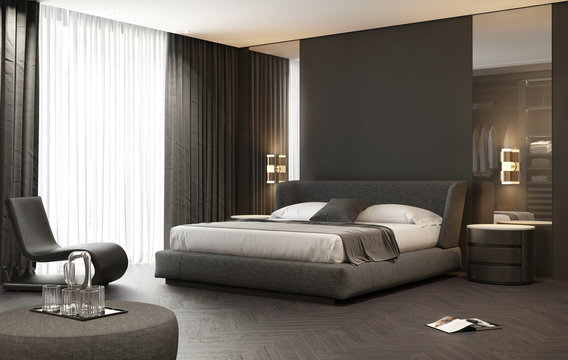 Dark grey contemporary luxury modern bedroom with stool and a modern carpet