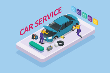 Isometric car repair maintenance autoservice center garage and car service concept. Technicians replace vehicle part, wheels.