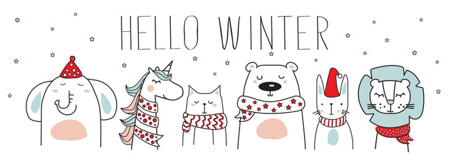 cute animals with winter scarves, hats and hello winter text, vector illustration