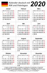 Kalender 2020 - weiß - hochkant - deutsch - mit Feiertagen (85 x 54 mm)