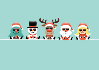 Wall Mural - Karte Baum Schneemann Rentier Weihnachtsmann Und Engel Mit Sonnenbrille Türkis
