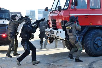 Arrest - anti-terrorist brigade in action.