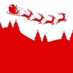 Wall Mural - Nach Rechts Fliegender Weihnachtsschlitten Über Wald Rot