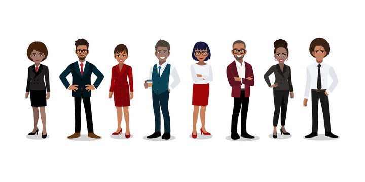 Group of African or American business people cartoon character. African or American businessman and businesswoman in office style smart suit and casual. Vector illustration