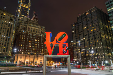 PHILADELPHIA, USA - MAR 24, 2019 : The LOVE Park, officially known as John F Kennedy Plaza located in Philadelphia, Pennsylvania. The park is nicknamed Love Park for its reproduction of Robert Indiana
